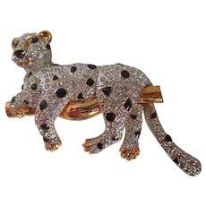 Vintage Leopard Rhinestone Lounging On Branch Pin/Brooch
