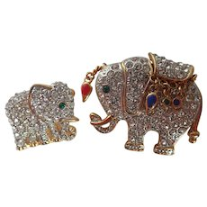 Pair of Elephant Rhinestone Pins/Brooches