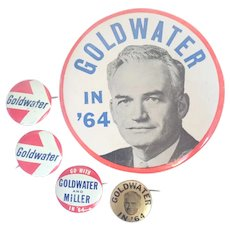 Vintage 1964 Barry Goldwater Political Pinbacks