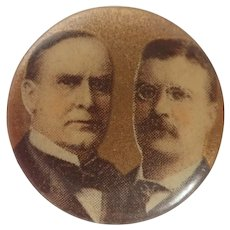 1900 William McKinley and Theodore Roosevelt Republican Jugate Pinback