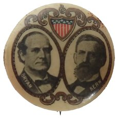 Antique 1896 Bryan & Kern Presidential Election Political Pinback