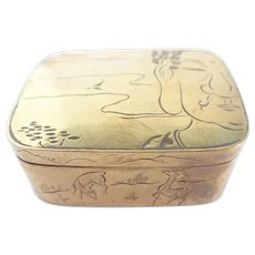 Vintage Chinese Brass With Etching Trinket/Ink/Snuff Box Signed