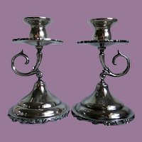 Vintage Mexican Signed GPR Sterling Silver Scroll Work Candlesticks Holders