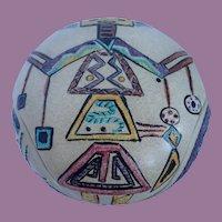 Vintage Asymmetrical Southwestern Inspired Kachina Pottery Bowl With Lid
