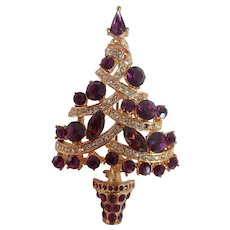 Vintage Christmas Tree Pin/Brooch Sparkling Purple & Pave Crystal Garland Rhinestones