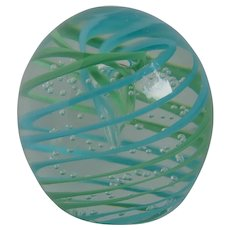 Vintage Blown Glass Swirling Paperweight With Controlled Bubbles
