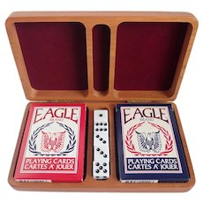 Equestrian Themed Laser Carved Double Deck Card Box With Dice