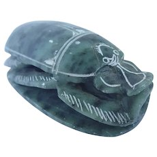 Vintage Egyptian Scarab Beetle With Hieroglyphics Carved Soapstone Paperweight