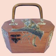 Vintage 3-D Decoupage Wood Purse Big Cats Safari Style
