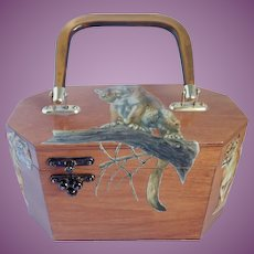 Vintage 3-D Decoupage Wood Purse Big Cats Safari Style