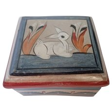Vintage Mexican Pottery Tonalá With White Deer Trinket Box