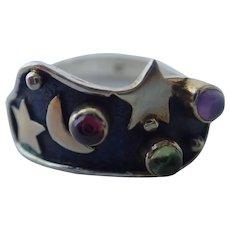 Vintage Celestial Stars & Crescent Moon Amethyst, Peridot & Garnet Sterling Silver Ring