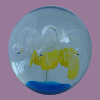 Vintage Starburst Glass Art Paperweight With Controlled Bubbles
