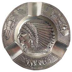 Vintage Cherokee Indian Reservation NC Metal Ashtray