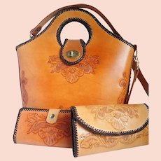 Hand Tooled Purse/Handbag Whip Stitching Large Leather With Wallet And Checkbook Holder
