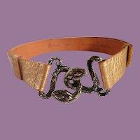 Vintage Marciano Snake Buckle Golden Leather Belt