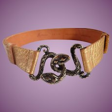 Vintage Marciano Snake Buckle Golden Leather Belt