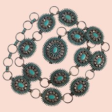 Vintage Zuni Needlepoint Turquoise & Sterling Concho Belt