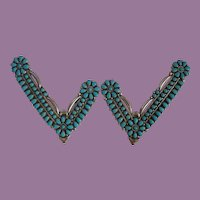 Vintage Native American Ceremonial (Grandmother) Collar Tips Sterling and Turquoise