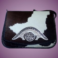 Hair On Cow Hide With Silver Accents Shoulder Bag Purse