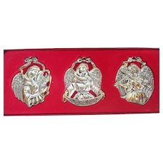 Gorham Silverplate Set Of 3 Angels Christmas Ornaments