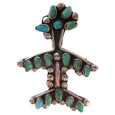 Vintage Zuni Stylized Thunderbird Turquoise & Sterling Pin/Brooch