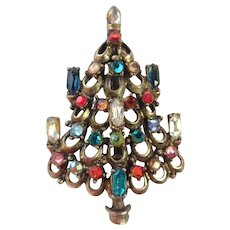 Vintage Hollycraft Christmas Tree Decorated With Rhinestones Galore Pin/Brooch