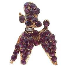 Vintage Perky Poodle Purple Rhinestone Pin/Brooch