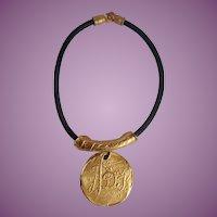Vintage 80's Donna Karan/Robert Lee Morris Signature LOGO Statement Necklace