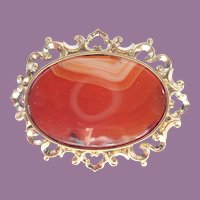 Antique Victorian Polished Agate With Gold Filled Ornate Frame  Pin/Brooch