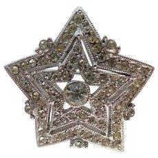 Vintage Hattie Carnegie Pave Rhinestone Star Pin/Brooch