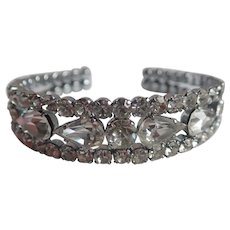 Vintage Prong Set Rhinestone Flexible Cuff/Bracelet
