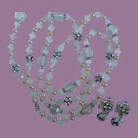 Vintage Clear Faceted Lucite Crystals Beads, Faux Pearls And Rhinestone Rondelles Necklace And Clip Earrings