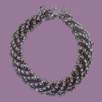 Vintage Ruby Red And White Prong Set Rhinestone Bracelet