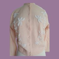 "Vintage ""Miles"" Sweater Lambs Wool Pale Pink With Beading Hong Kong"