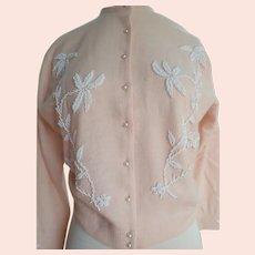 "Vintage ""Miles"" Sweater Lambs Wool Pale Pink With Beading Hong Kong"