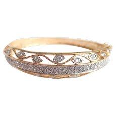 Gold Vermeil Over Sterling With Sparkling Pave Set Crystals Feminine Design Hinged Bangle Bracelet