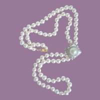 """Vintage Quality Simulated Pearl 30"""" Strand With Panetta Faux Pearl Rhinestone Enhancer"""