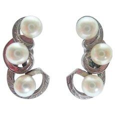 Vintage Mikimoto Sterling Silver Pearl Swirl Design Screwback Earrings