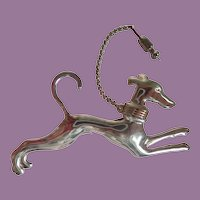 Vintage Sterling And 14K Gold Art Deco Style Dashing Greyhound/Whippet Pin Brooch