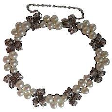 Vintage MIKIMOTO  Akoya Pearl Grape Leaf .950 Sterling Bracelet