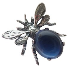 Vintage CINI Bug Insect Bee Sterling Blue Stone Jelly Belly Pin Brooch