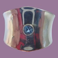 Vintage Mexico Taxco Sterling Silver Cuff With Blue Stone