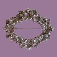 Vintage Sterling Repousse Garden Party Circle Of Flowers Floral Pin Brooch