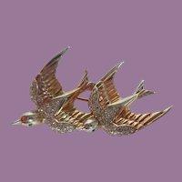 Vintage Corocraft Sterling Heavenly Swallows Duette Set Fur Or Brooch Pin