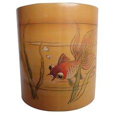 Vintage Chinese Koi Handpainted Bamboo Wood Tea Caddy Trinket Box