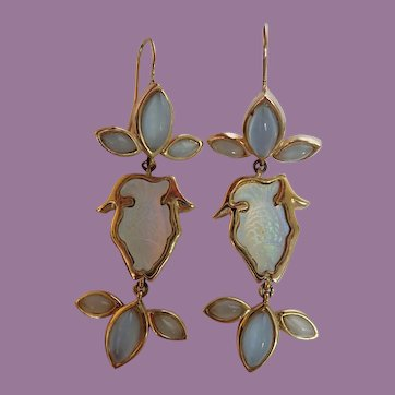Vintage Dangling Fish Opalescent Earrings Made In Mexico