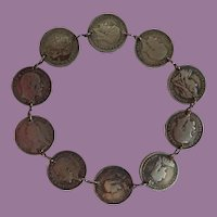 Vintage Trench Art Sweetheart Great Britain 3 Pence Coin Bracelet Dates 1887 - 1934