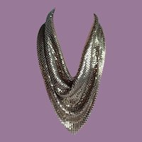 Whiting and Davis Style Liquid Gold Tone Mesh Necklace/Bib/Scarf