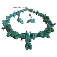 Carved Turquoise Stacked Fetish Southwestern Necklace  & Earrings Bears/Fox/Rabbits And More!